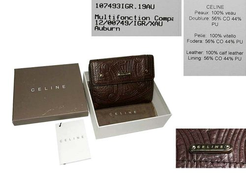95% NEW ! Celine 12/00749/IGR/XAU Chocolate Multifonction Compartment Wallet Purse-0