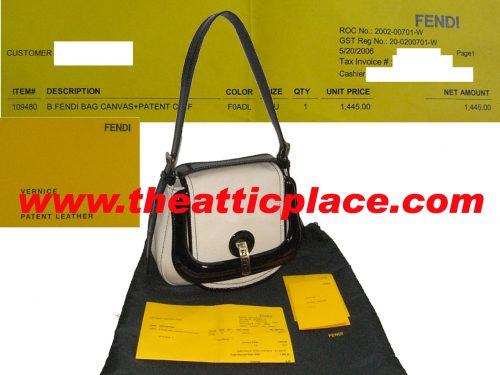 90% NEW ! Fendi 8BR544 Beige with Black Patent Trim Single Buckle B Bag-0