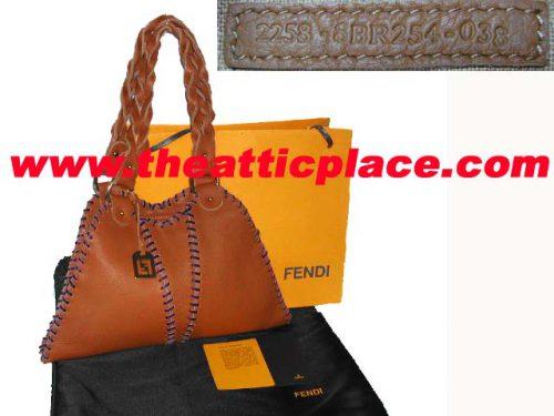 99% NEW ! Fendi 8BR254 Brown Calf Leather Small Diavolo Devil Handbag-0