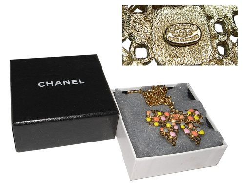 ALMOST NEW ! Chanel 03S Ribbon/ Bow Necklace with Multicolor Enamel Gold chain-0