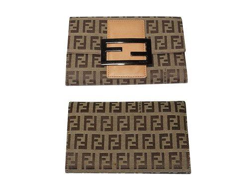 90% NEW ! Fendi 8M0036 Beige Zucchino FF Fabric Wallet-0