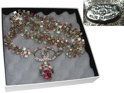 98% NEW ! Chanel 05P Pink/ Rose/ Cystal in Rhinestone Stone Multiple Light Gold Chain Belt/ Bracelet/ Necklace-0