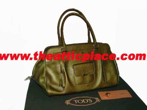 98% NEW ! Tod's Metallic Bronze Rain Leather Kate Easy Media Giorno Travel / Gym Bag-0