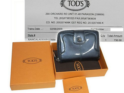 ALMOST NEW ! Tods in Patent Greylish Blue Bio-Fold Zipped Compact Wallet-0