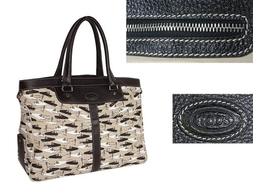 ALMOST NEW ! Tods Limited Print Fabric Miky Nomade Shopping Media Handbag-0