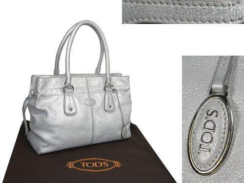 90% NEW ! Tod's Metallic Silver Restyled D-Bag Shopping Media / Document Bag-0