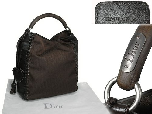 ALMOST NEW ! Dior Brown Calf w Diorissimo Canvas with Wooden Handle Document Handbag-0