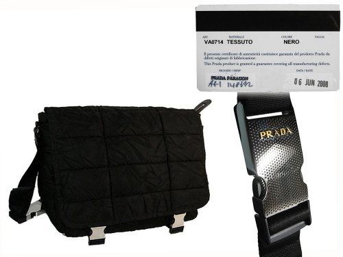 ALMOST NEW ! Prada VA0714 Black Quilted Nylon Messenger Bag-0