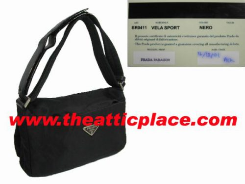Prada BR0411 Black Nylon Velcro Adjustable Shoulder Bag 47-0