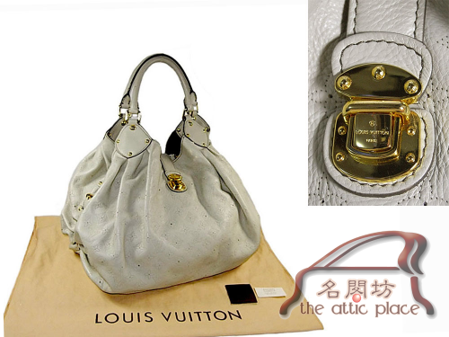 ALMOST NEW ! Louis Vuitton M95548 Gris XL Mahina Leather Hobo Shoulder Bag-0