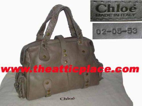 Chloe Khaki Leather Silverado Large Tote -0