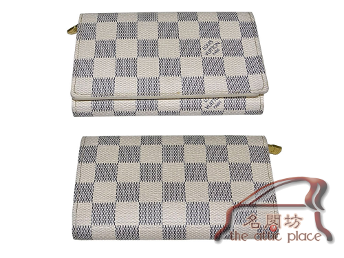 ALMOST NEW ! Louis Vuitton N61744 Damier Azur Canvas Tresor Wallet-0