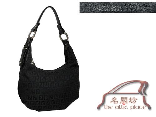 90% NEW ! Fendi 8BR339 Black / Black Zucchino Hobo Small Handbag-0