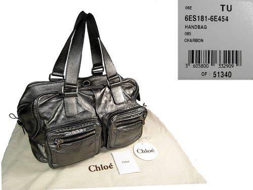 Chloe Betty Satchel Large in Metallic Silver Shoulder Bag-0