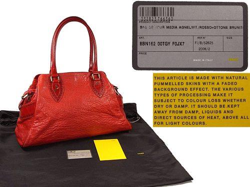 Fendi Bag De Jour Medium in Red Distressed Lambskin Shoulder Bag -0