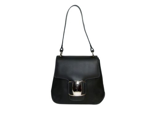 VINTAGE! Ferragamo Black Calf Vara Tote with Silver Buckle