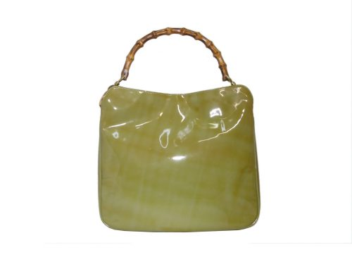 Gucci 96059 Patent Turquoise/ Green Bamboo Shoulder Bag-0