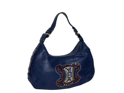 Celine Blue Nappa Hobo with Jewel Details-0