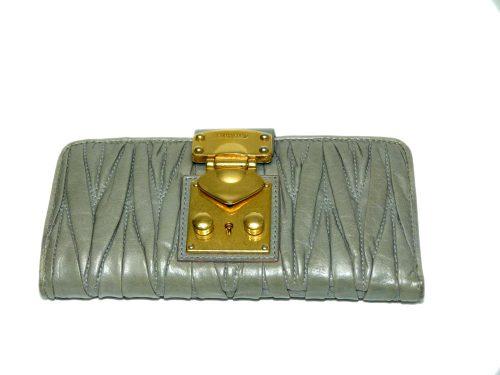 Miu Miu Green Portafoglio Matelasse Lux Wallet with Gold Hardware-0