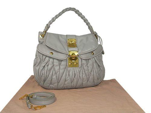 Miu Miu RR1300 Light Grey Nappa Leather Coffer Bag in Matelasse-0