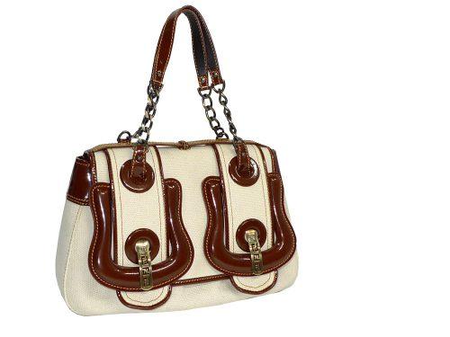 Fendi Canvas B-Bag with Brown Patent Trim-0