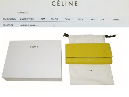 Celine Yellow Soft Calf Flap 16 cards Long Wallet-0