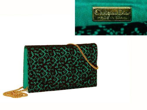 Dior Black Lace with Green Satin Vintage Sling Bag-0