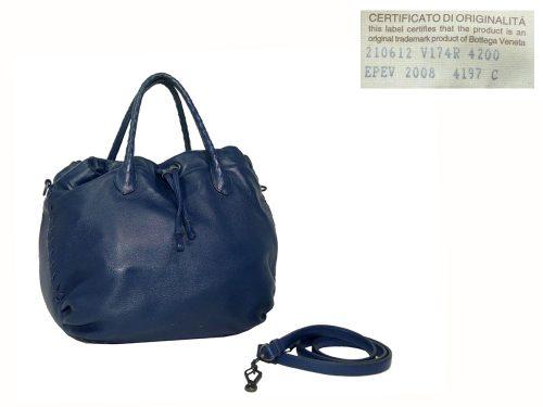 Bottega Veneta 210612 Royal Blue Multi-Pocket Tote with strap-0