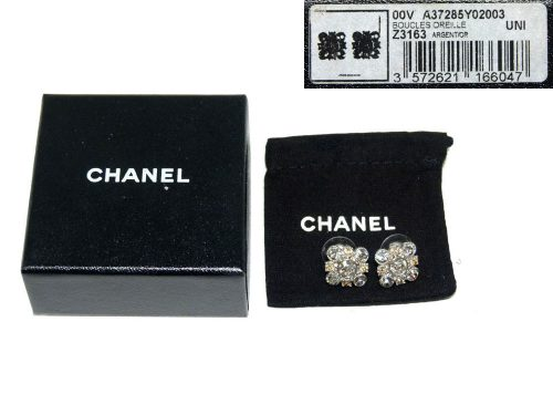 Chanel Z3163 Flower Crystal Earring and Ring-0