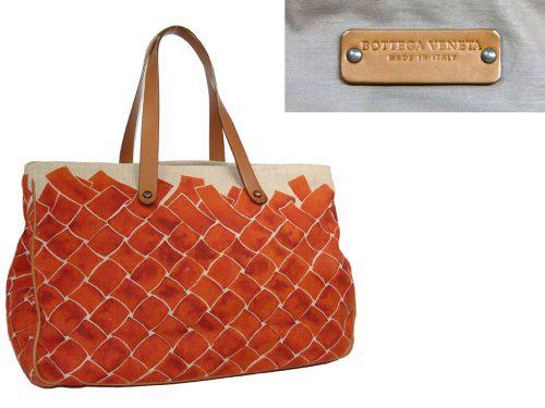 Bottega Veneta Canvas Orange Cabas Large Travel Luggage-0