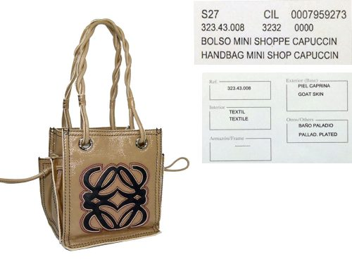 Loewe Beige/Capuccin Patent Mini Shopping Tote-0
