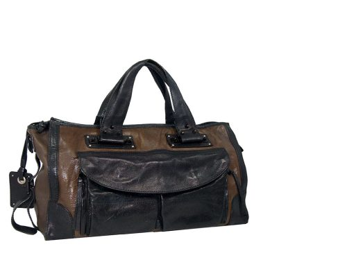 Chloe Black/Brown Document Tote with 2 Front Pockets -0