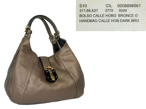 Loewe 317.89.A27 Gold/Bronze Calle Hobo Bag-0