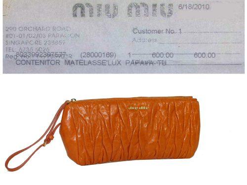 Miu Miu Orange Matelasse Lux Long Clutch-0