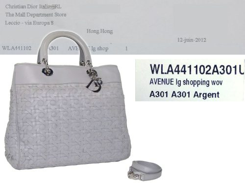 Christian Dior Light Grey Woven Document Vertical Tote-0
