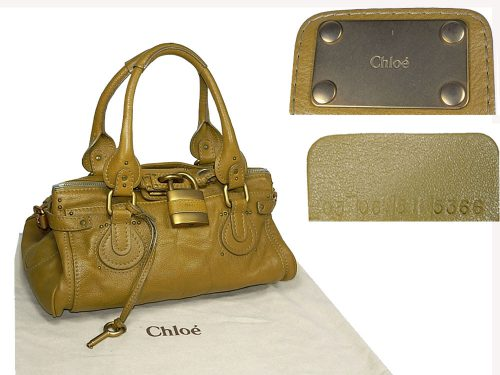 Chloe Mustard Green Calf Classic Paddington Shoulder Tote Bag-0