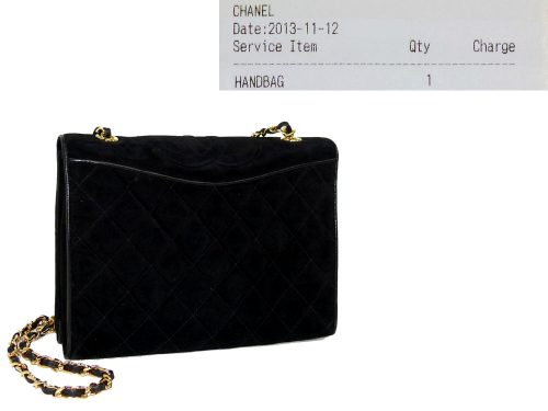 Chanel Black Suede Quilted Vintage Flap Classic Bag / Clutch in Gold Hardware-0