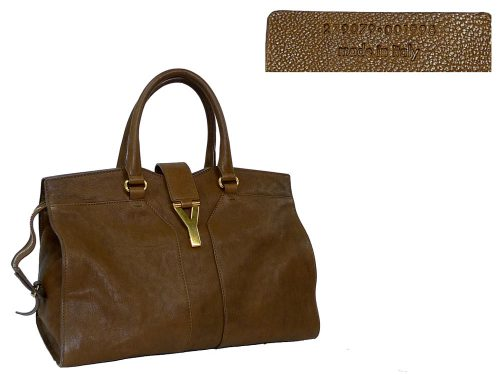 YSL 279079 Brown/ Tan Color Washed Y Cabas Tote Medium Size-0