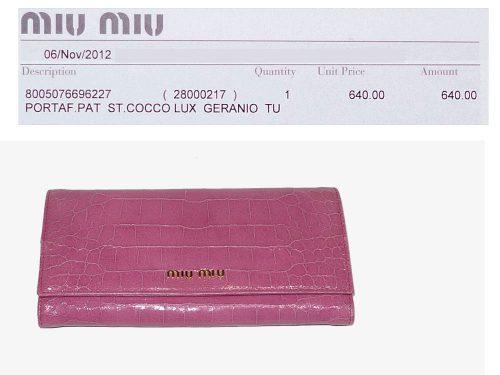 Miu Miu Pink Croco Embossed 12 Cards Long Wallet-0