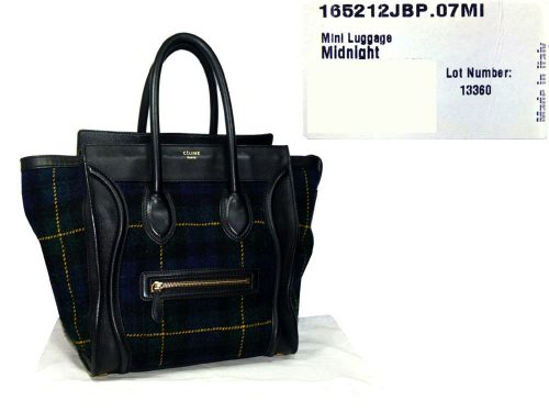Celine Tartan Midnight Blue Tweed Mini Luggage Tote-0