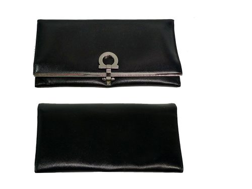 Ferragamo 1K-22 4633 Black Classic Long Wallet-0