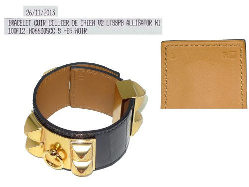 Hermes Collier De Chien CDC Alligator Shine Black Prorosus Gold Hardware Q Stamp in S Size-0