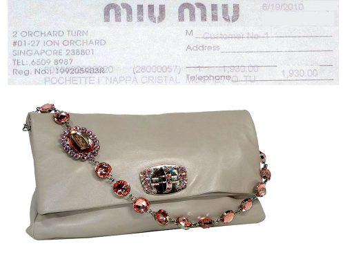 Miu Miu Pink Nappa Cristal Jewelled Large Flap Three-in-one Pochette / Clutch/ Bag-0
