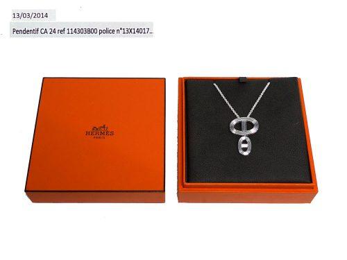 "Hermes Chaîne d'Ancre 24 ""Double"" Pendant in Silver 925 Chain length: 39-41 cm-0"