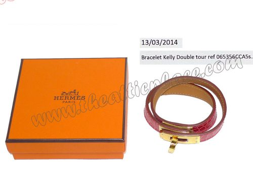 Hermes Alligator Leather Coral Pink Kelly Double Tour S Size Q Stamp Gold Hardware-0