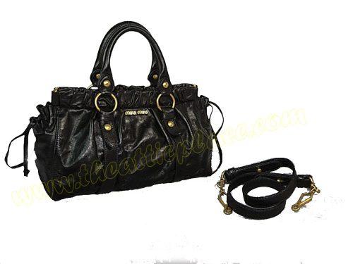 Miu Miu Black Leather Vitello Lux Small Tote Bag with Shoulder Strap-0