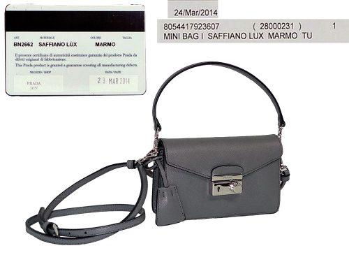 Prada BN2662 Marmo Grey Mini Saffiano Lux Flap Tote w Strap-0