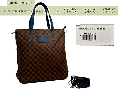 Louis Vuitton N41255 Limted Collection Herald Damier Ebene Tote/ Messenger Bag-0