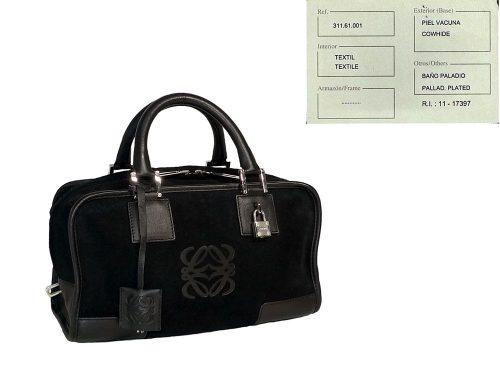 Loewe Black Suede 311.61.001 Amazona Small Tote-0