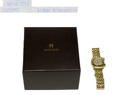 Aigner Gold A31600 Genus Due Signature chain Quatz Watch-0